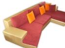 Ъглов диван - еко кожа и плат